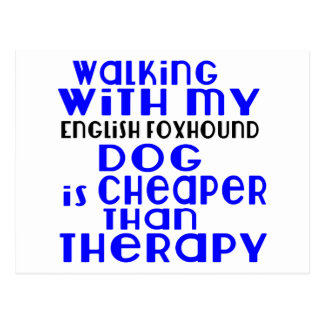 Walking With My English Foxhound Dog  Designs Postcard