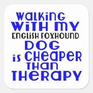 Walking With My English Foxhound Dog  Designs Square Sticker