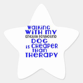 Walking With My English Foxhound Dog  Designs Star Sticker
