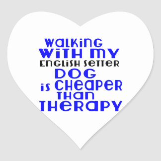 Walking With My English Setter Dog  Designs Heart Sticker