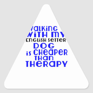 Walking With My English Setter Dog  Designs Triangle Sticker