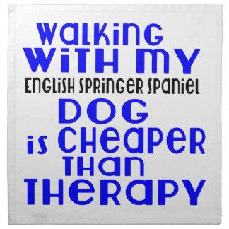 Walking With My English Springer Spaniel Dog  Desi Napkin