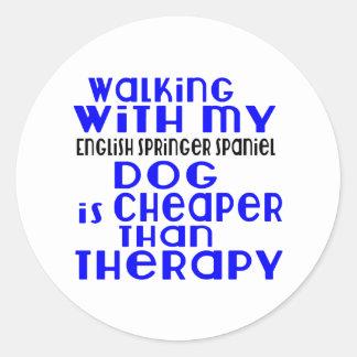 Walking With My English Springer Spaniel Dog  Desi Round Sticker