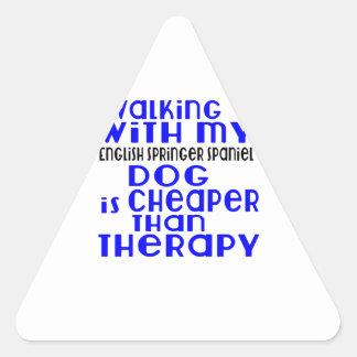 Walking With My English Springer Spaniel Dog  Desi Triangle Sticker