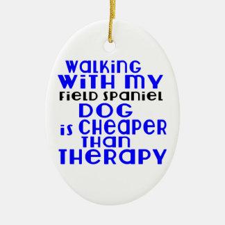 Walking With My Field Spaniel Dog  Designs Ceramic Oval Ornament
