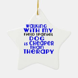 Walking With My Field Spaniel Dog  Designs Ceramic Star Ornament