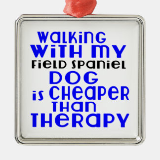 Walking With My Field Spaniel Dog  Designs Silver-Colored Square Ornament