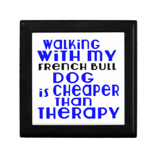 Walking With My French Bulldog Dog  Designs Trinket Box