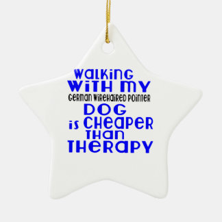 Walking With My German Wirehaired Pointer Dog  Des Ceramic Star Ornament
