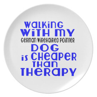 Walking With My German Wirehaired Pointer Dog  Des Dinner Plate