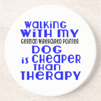 Walking With My German Wirehaired Pointer Dog  Des Drink Coasters
