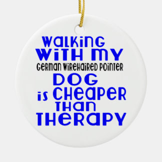 Walking With My German Wirehaired Pointer Dog  Des Round Ceramic Ornament