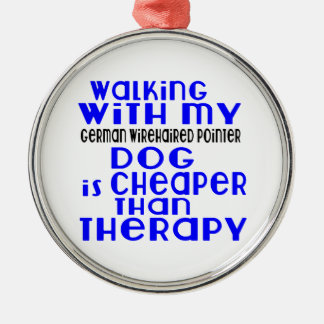 Walking With My German Wirehaired Pointer Dog  Des Silver-Colored Round Ornament