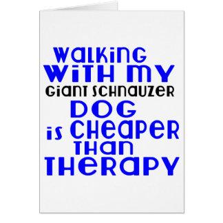 Walking With My Giant Schnauzer Dog  Designs Card