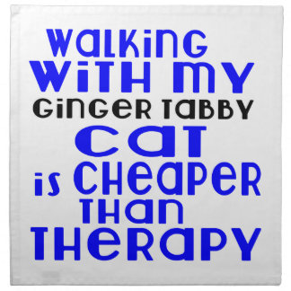 Walking With My Ginger tabby Cat Designs Napkin