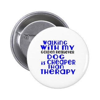 Walking With My Golden Retriever Dog  Designs 2 Inch Round Button