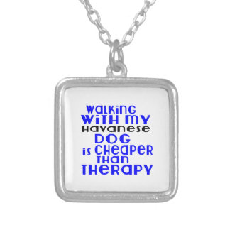 Walking With My Havanese Dog  Designs Silver Plated Necklace