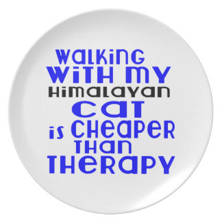 Walking With My Himalayan Cat Designs Party Plate