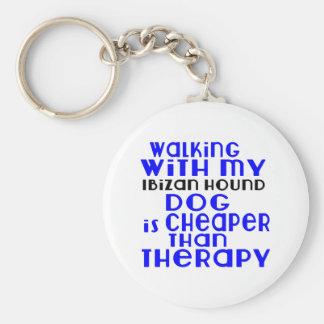 Walking With My Ibizan Hound Dog  Designs Basic Round Button Keychain