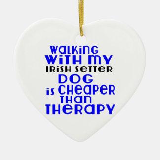 Walking With My Irish Setter Dog  Designs Ceramic Heart Ornament