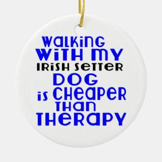 Walking With My Irish Setter Dog  Designs Round Ceramic Ornament