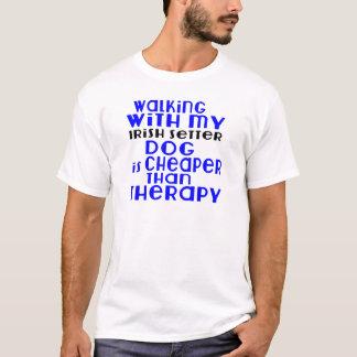 Walking With My Irish Setter Dog  Designs T-Shirt