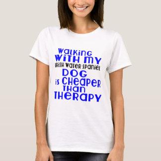 Walking With My Irish Water Spaniel Dog  Designs T-Shirt