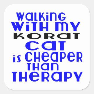 Walking With My Korat Cat Designs Square Sticker