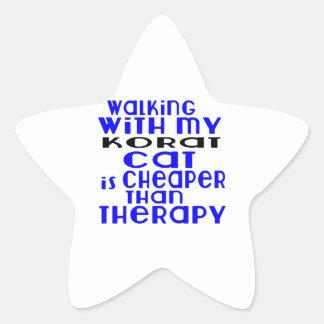 Walking With My Korat Cat Designs Star Sticker