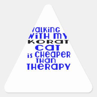 Walking With My Korat Cat Designs Triangle Sticker