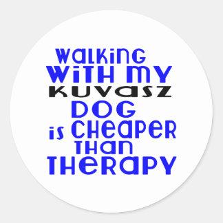 Walking With My Kuvasz Dog  Designs Round Sticker
