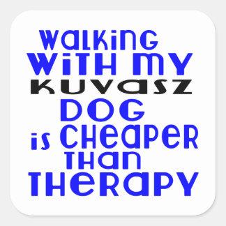 Walking With My Kuvasz Dog  Designs Square Sticker