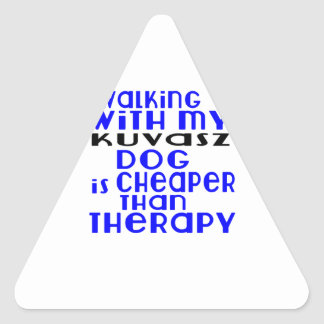 Walking With My Kuvasz Dog  Designs Triangle Sticker