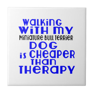 Walking With My Miniature Bull Terrier Dog Designs Tile