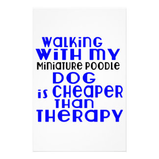 Walking With My Miniature Poodle Dog Designs Stationery Design