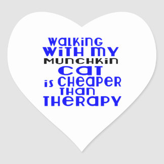Walking With My Munchkin Cat Designs Heart Sticker