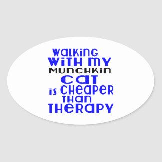 Walking With My Munchkin Cat Designs Oval Sticker