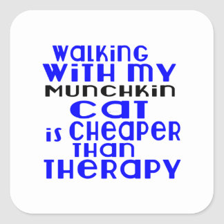 Walking With My Munchkin Cat Designs Square Sticker