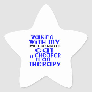 Walking With My Munchkin Cat Designs Star Sticker