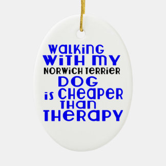 Walking With My Norwich Terrier Dog Designs Ceramic Oval Ornament