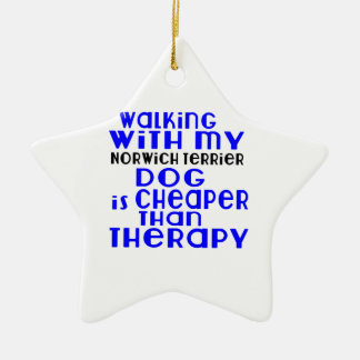 Walking With My Norwich Terrier Dog Designs Ceramic Star Ornament