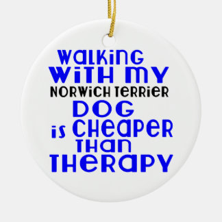 Walking With My Norwich Terrier Dog Designs Round Ceramic Ornament