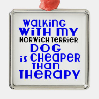 Walking With My Norwich Terrier Dog Designs Silver-Colored Square Ornament