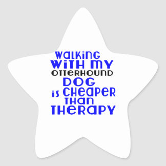 Walking With My Otterhound Dog Designs Star Sticker