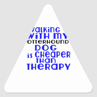 Walking With My Otterhound Dog Designs Triangle Sticker