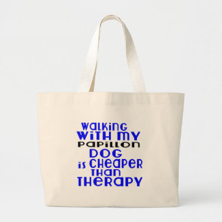 Walking With My Papillon Dog Designs Large Tote Bag