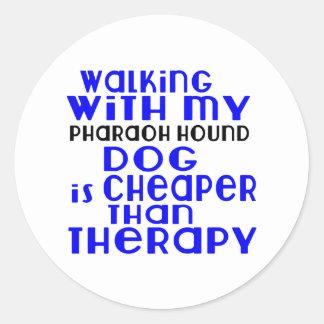 Walking With My Pharaoh Hound Dog Designs Round Sticker