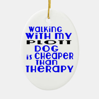 Walking With My Plott Dog Designs Ceramic Oval Ornament