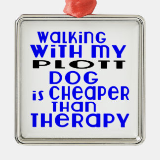 Walking With My Plott Dog Designs Silver-Colored Square Ornament