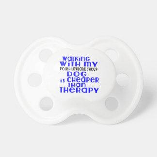 Walking With My Polish Lowland Sheepdog Dog Design Baby Pacifier